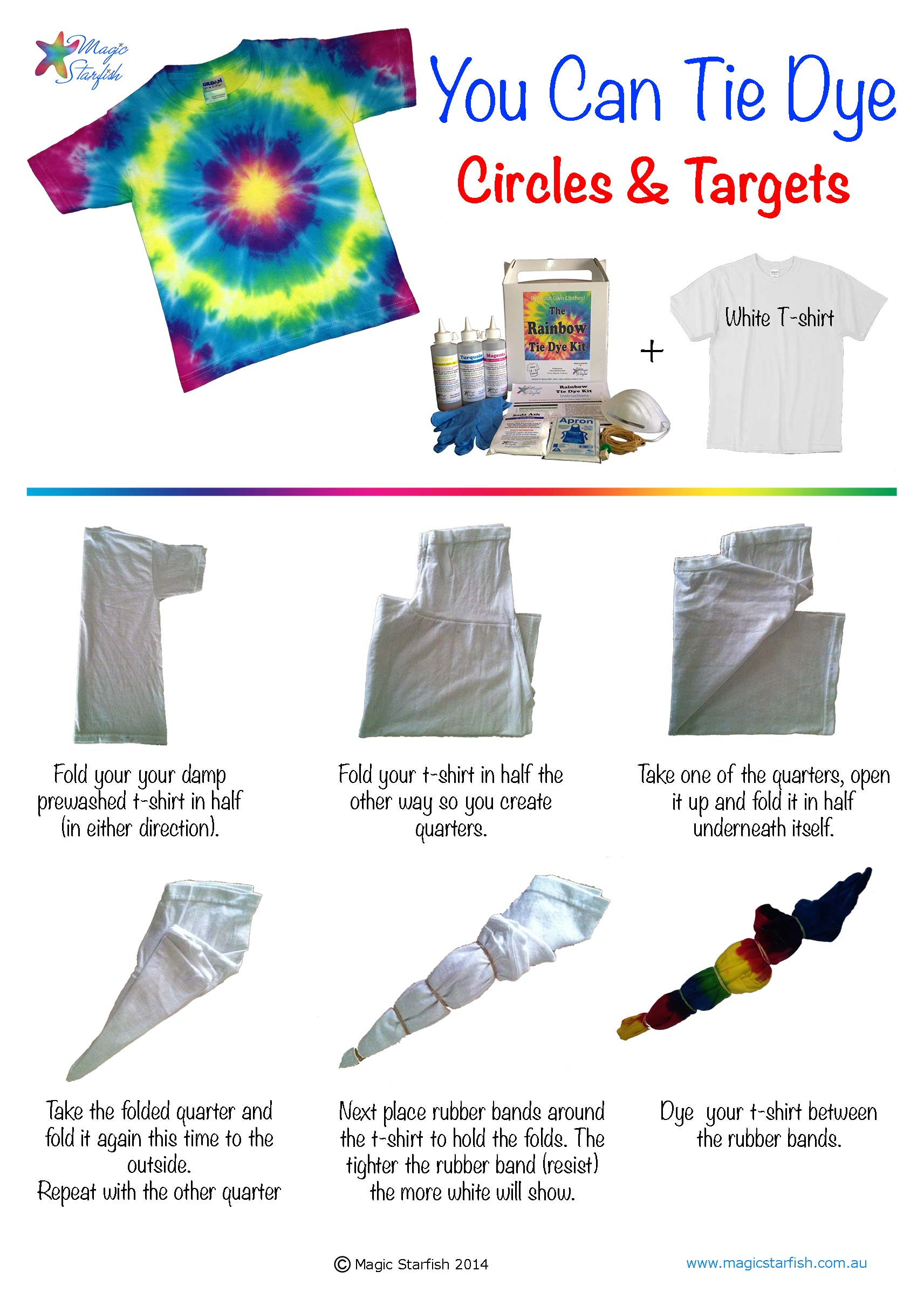 Magic starfish how to your fabric to tie dye - Technique tie and dye ...